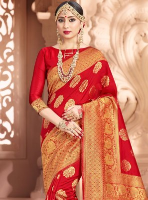 Art Banarasi Silk Woven Traditional Saree in Red
