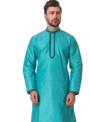 Art Dupion Silk Aqua Blue Kurta Pyjama