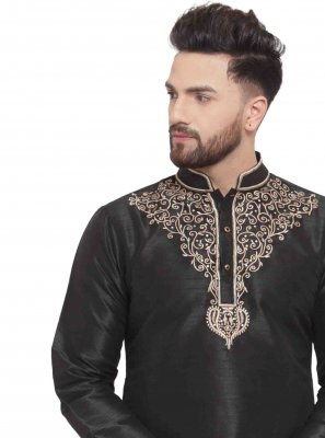 Art Dupion Silk Embroidered Black Kurta