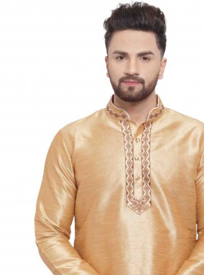 Art Dupion Silk Embroidered Kurta in Gold