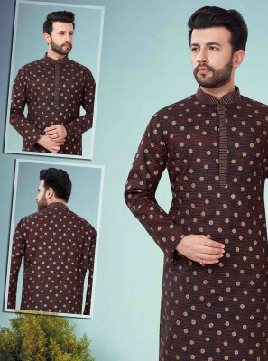 Art Dupion Silk Embroidered Kurta Pyjama in Maroon