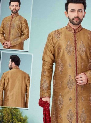Art Dupion Silk Gold Embroidered Kurta Pyjama