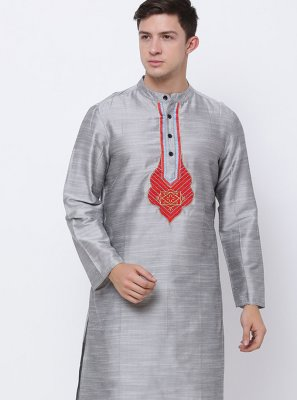 Art Dupion Silk Grey Embroidered Kurta Pyjama