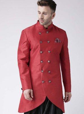 Art Dupion Silk Indo Western in Red