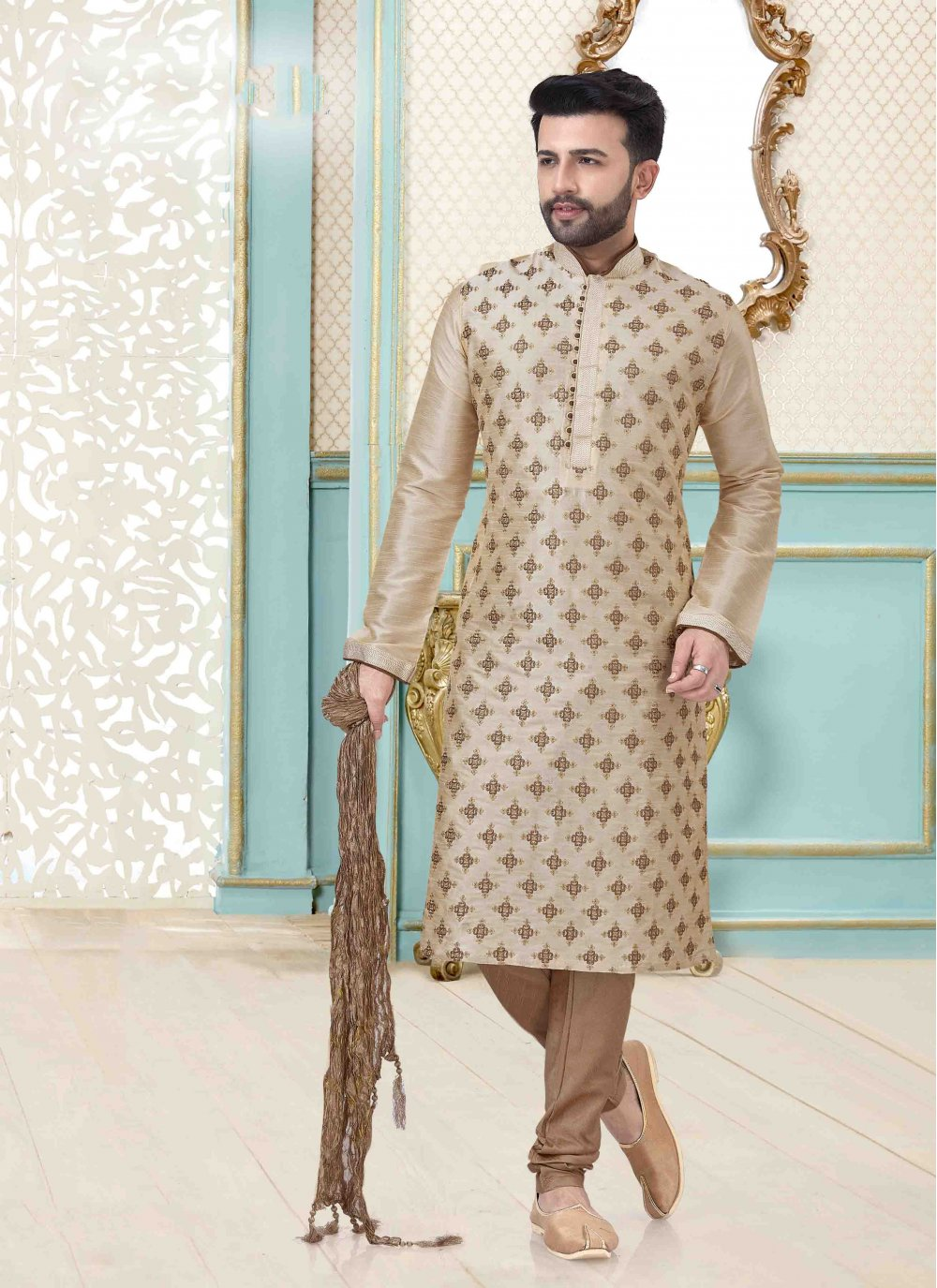 Art Dupion Silk Kurta Pyjama in Cream