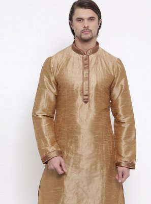 Art Dupion Silk Kurta Pyjama in Gold