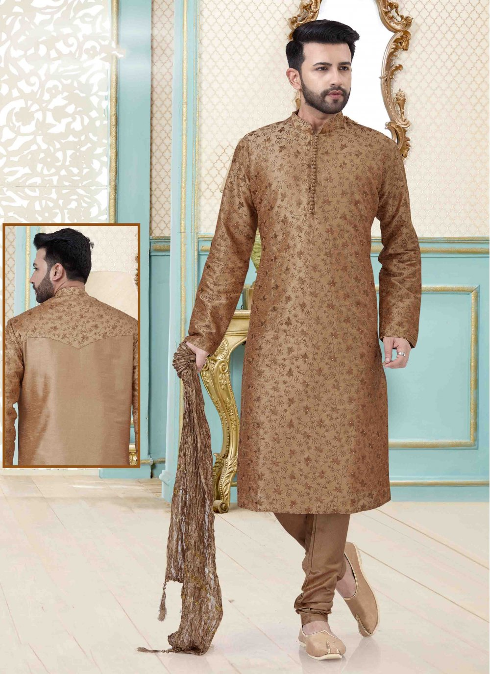 Art Dupion Silk Kurta Pyjama in Peach