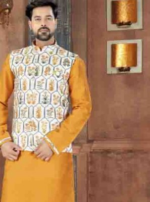 Art Dupion Silk Kurta Pyjama in Yellow