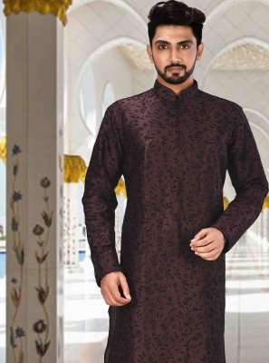 Art Dupion Silk Machine Embroidery  Kurta Pyjama in Wine