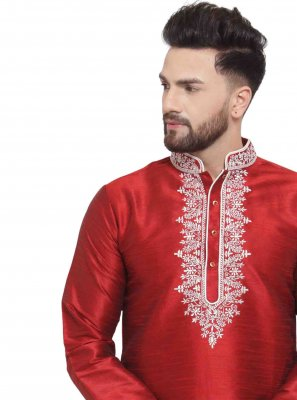 Art Dupion Silk Maroon Embroidered Kurta