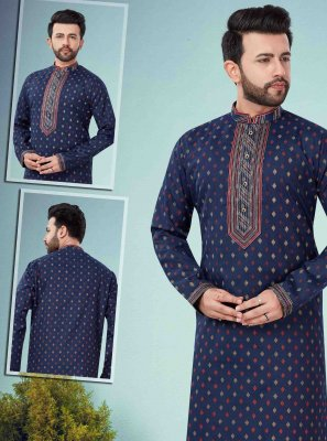 Art Dupion Silk Navy Blue Embroidered Kurta Pyjama