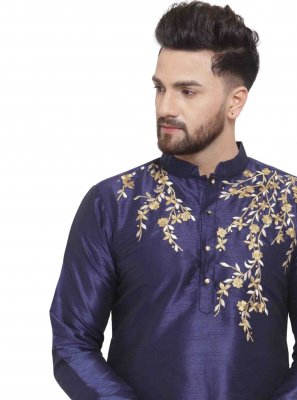 Art Dupion Silk Navy Blue Kurta