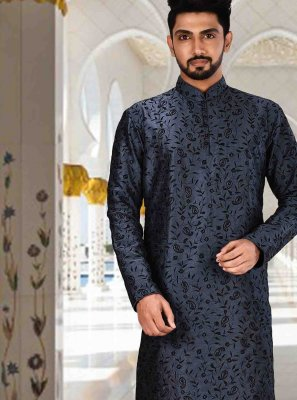 Art Dupion Silk Navy Blue Plain Kurta Pyjama