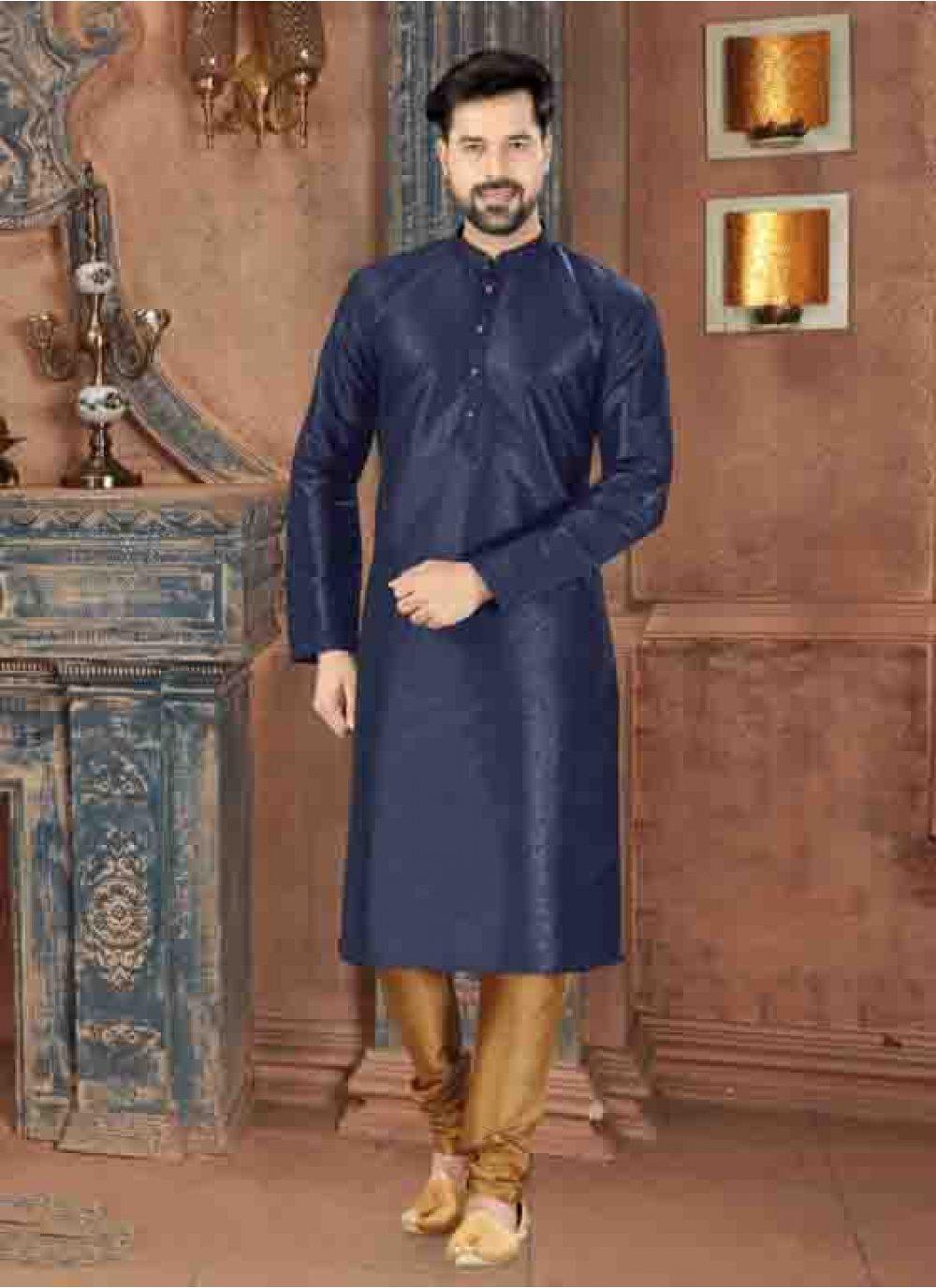 Art Dupion Silk Plain Blue Kurta Pyjama