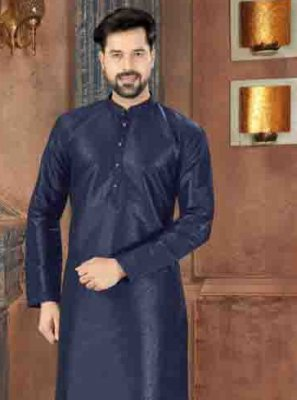 Art Dupion Silk Plain Blue Kurta Pyjama