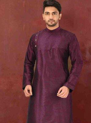 Art Dupion Silk Plain Dhoti Kurta in Purple