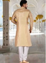 Art Dupion Silk Plain Kurta Pyjama in Gold