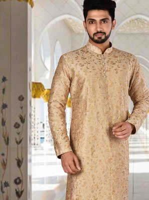 Art Dupion Silk Plain Kurta Pyjama in Gold