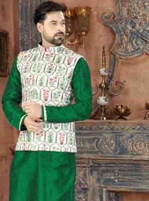 Art Dupion Silk Plain Kurta Pyjama in Green