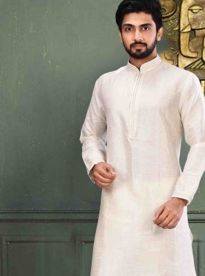 Art Dupion Silk Plain Off White Kurta Pyjama