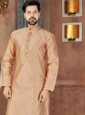 Art Dupion Silk Plain Peach Kurta Pyjama