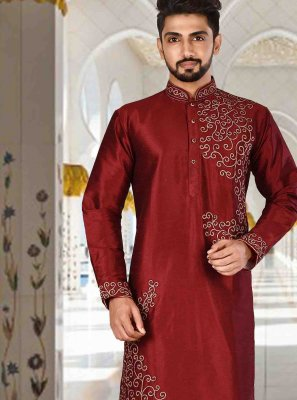 Art Dupion Silk Plain Red Kurta Pyjama