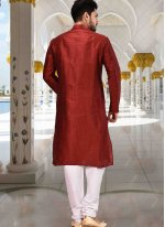 Art Dupion Silk Red Plain Kurta Pyjama