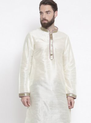 Art Dupion Silk White Embroidered Kurta Pyjama