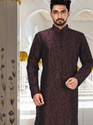 Art Dupion Silk Wine Plain Kurta Pyjama