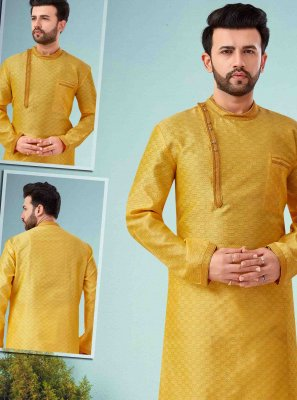 Art Dupion Silk Yellow Kurta Pyjama