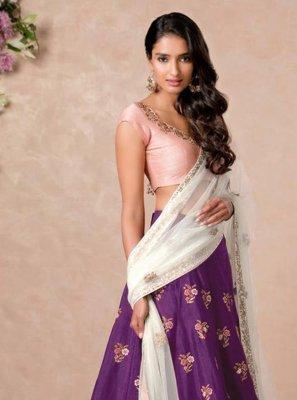 Art Silk A Line Lehenga Choli in Purple