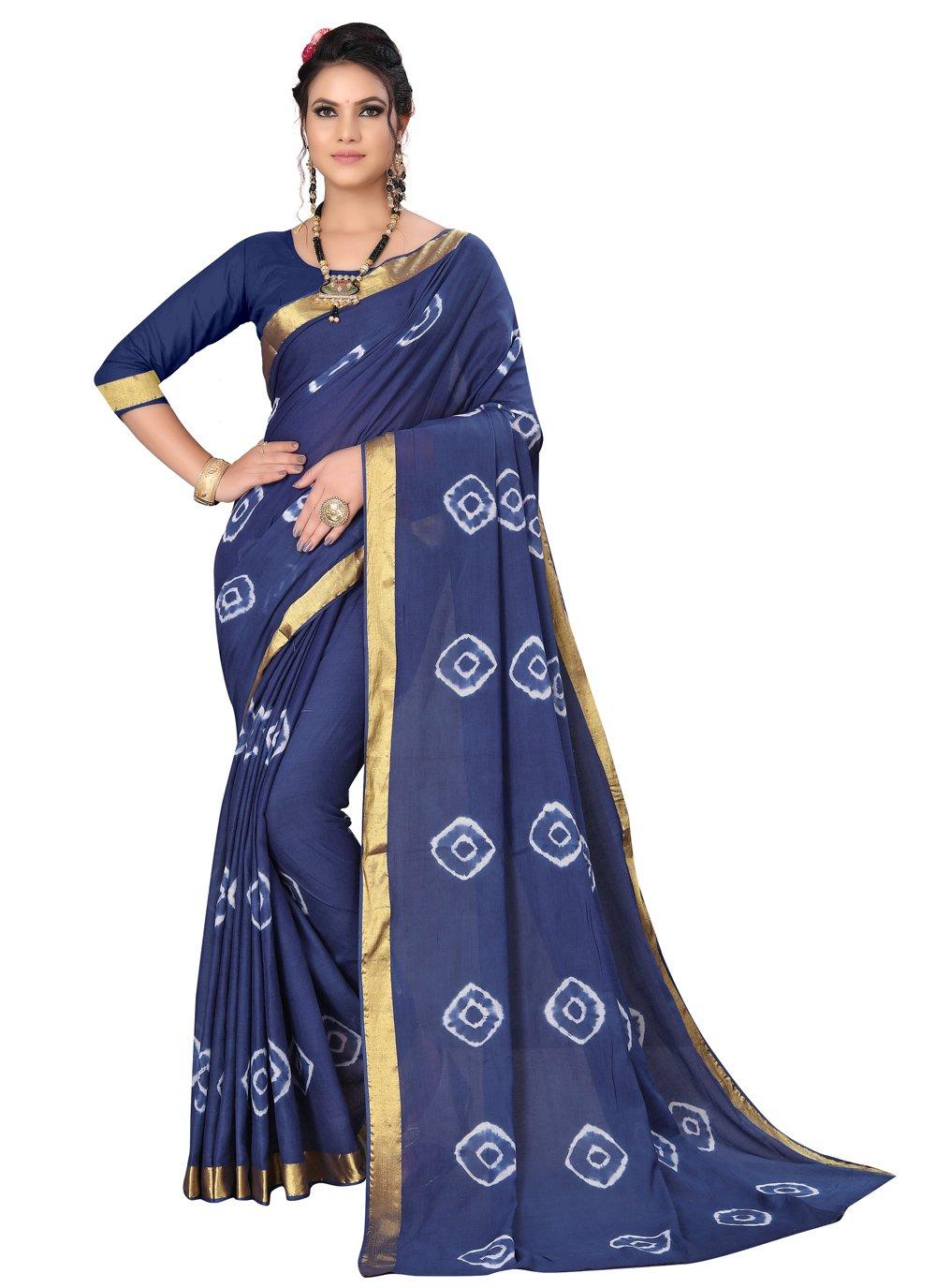 Art Silk Abstract Print Blue Printed Saree