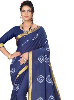 Art Silk Abstract Print Blue Printed Saree