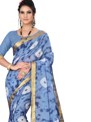 Art Silk Abstract Print Printed Saree in Blue