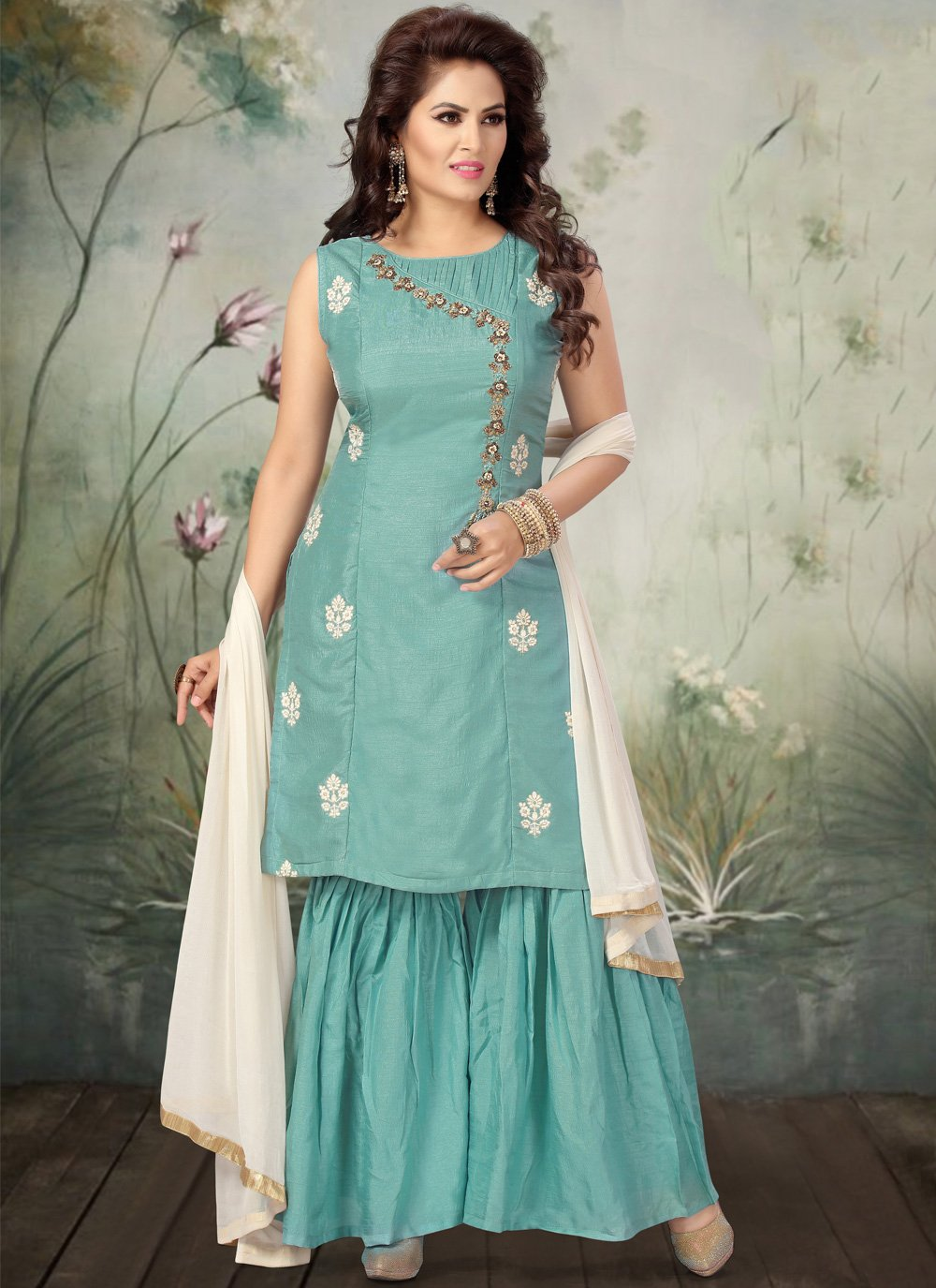 Art Silk Aqua Blue Embroidered Designer Salwar Suit