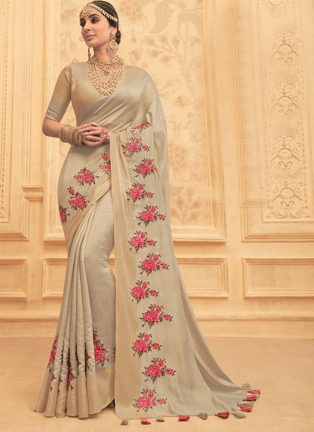 Art Silk Beige Embroidered Traditional Saree