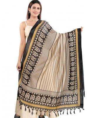 Art Silk Black and Cream Print Designer Dupatta