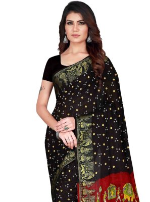 Art Silk Black Printed Designer Traditional Saree