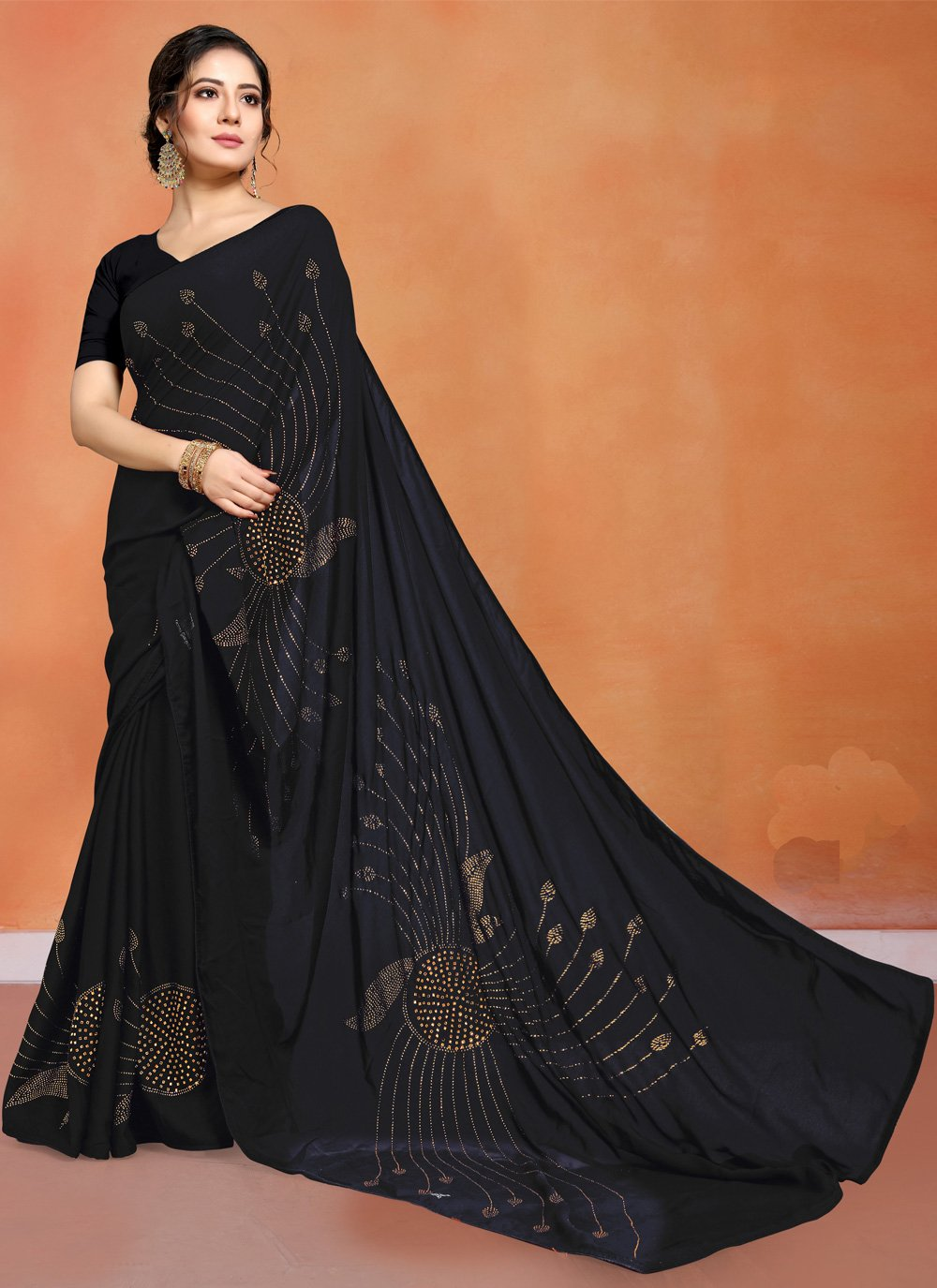 Art Silk Black Stone Work Designer Saree
