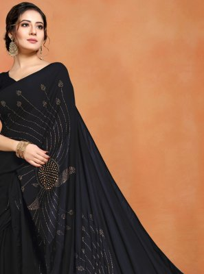 Art Silk Black Stone Work Designer Saree