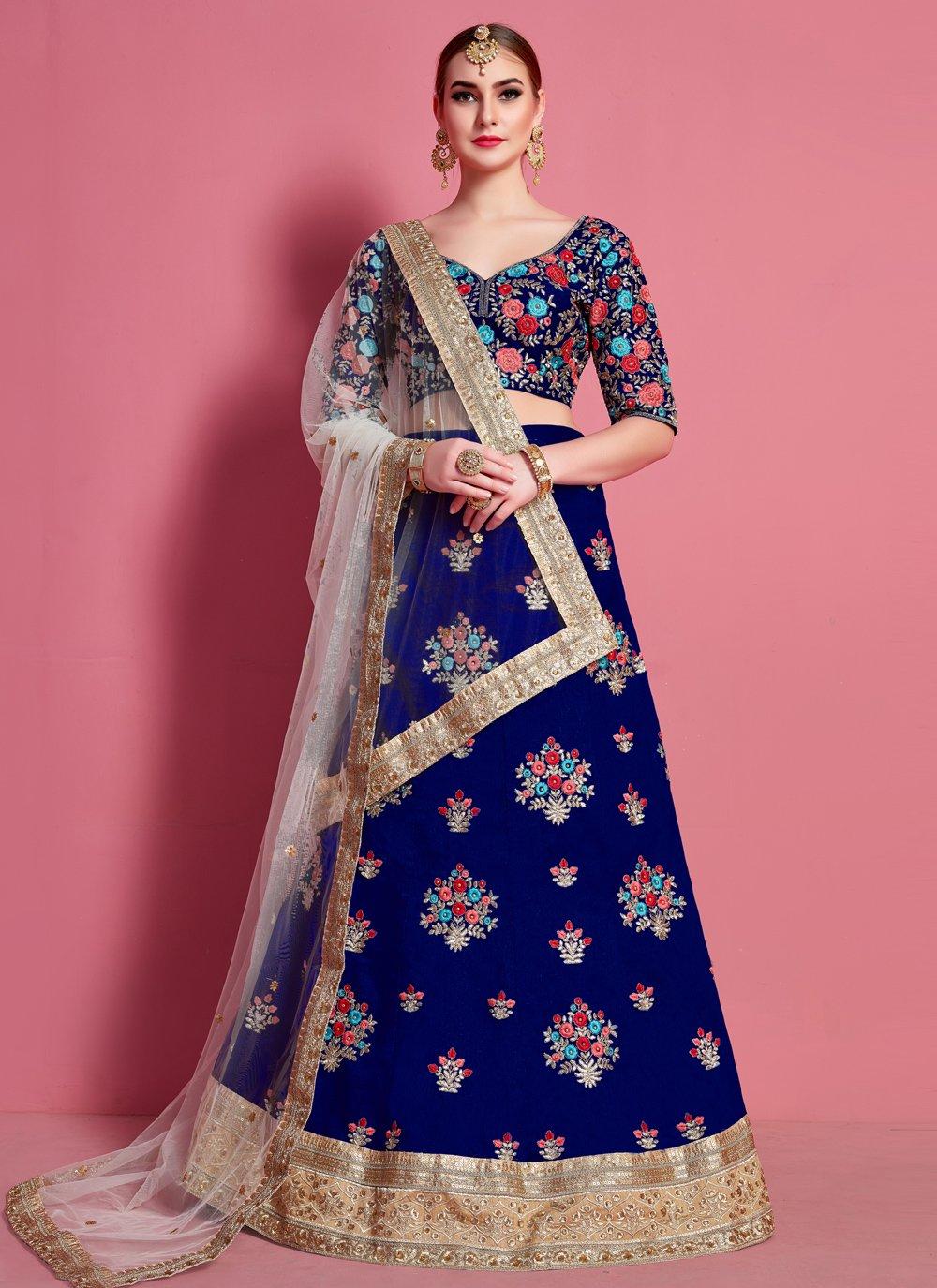Art Silk Blue A Line Lehenga Choli