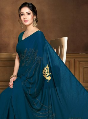 Art Silk Blue Contemporary Saree