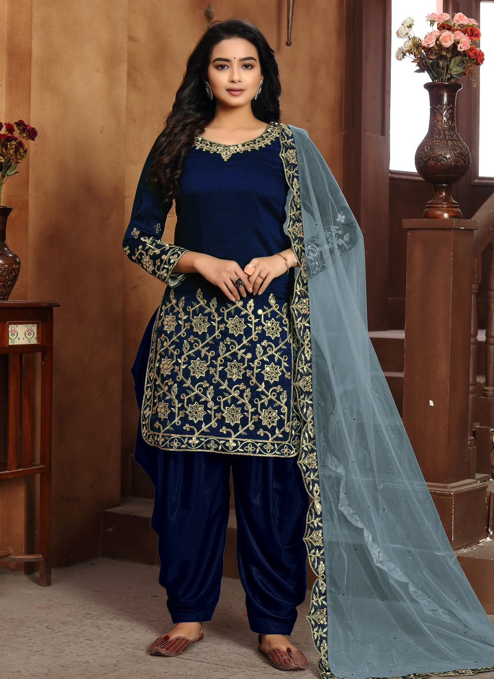 Art Silk Blue Designer Patiala Suit