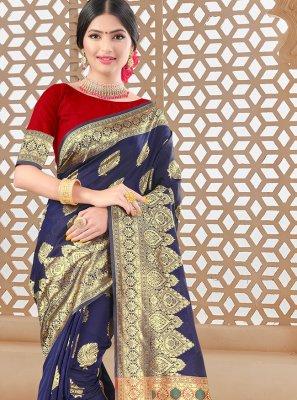 Art Silk Blue Designer Traditional Saree