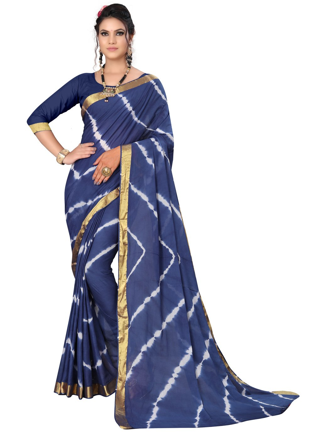 Art Silk Blue Printed Saree
