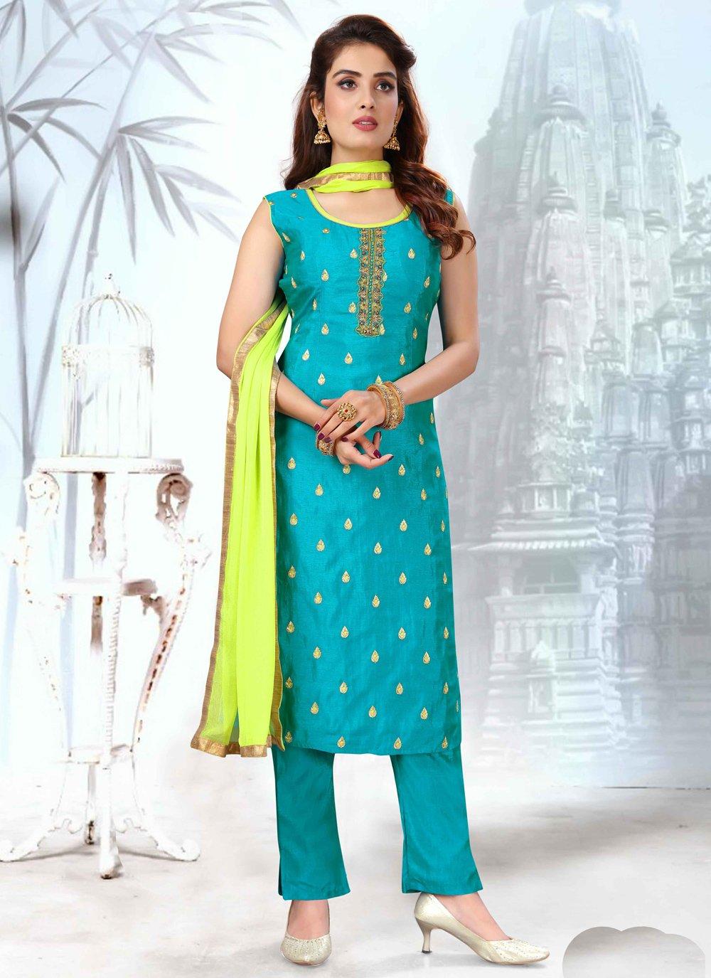 Art Silk Blue Readymade Suit