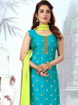 Art Silk Blue Readymade Suit