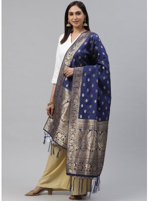 Art Silk Blue Weaving Designer Dupatta