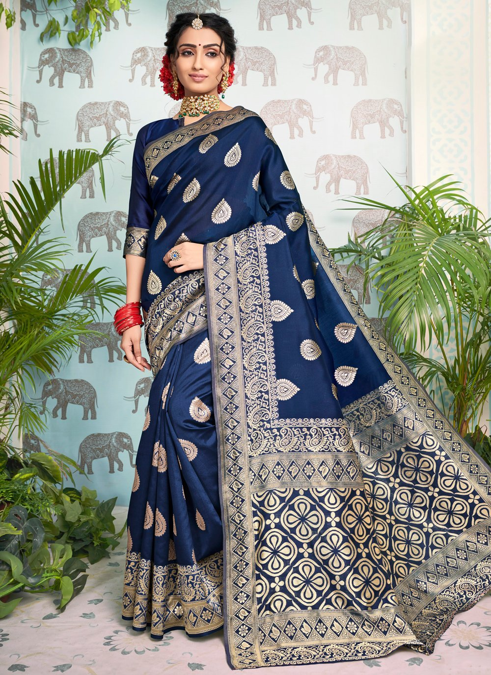 Art Silk Blue Weaving Traditional Saree
