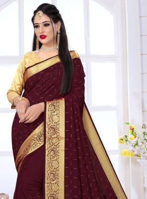 Art Silk Bollywood Saree in Wine